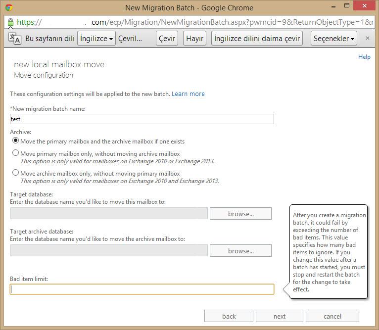 exchange 2013 ile mailbox migration(farklı database'e taşıma) işlemi
