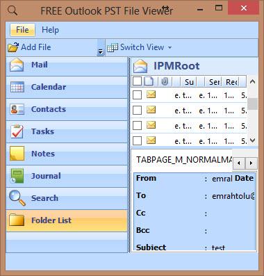 ücretsiz Outlook pst dosya görüntüleyici