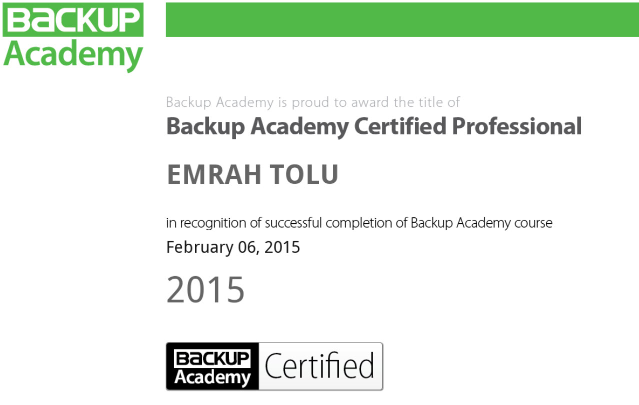 BACP- Backup Academy Certified Professional
