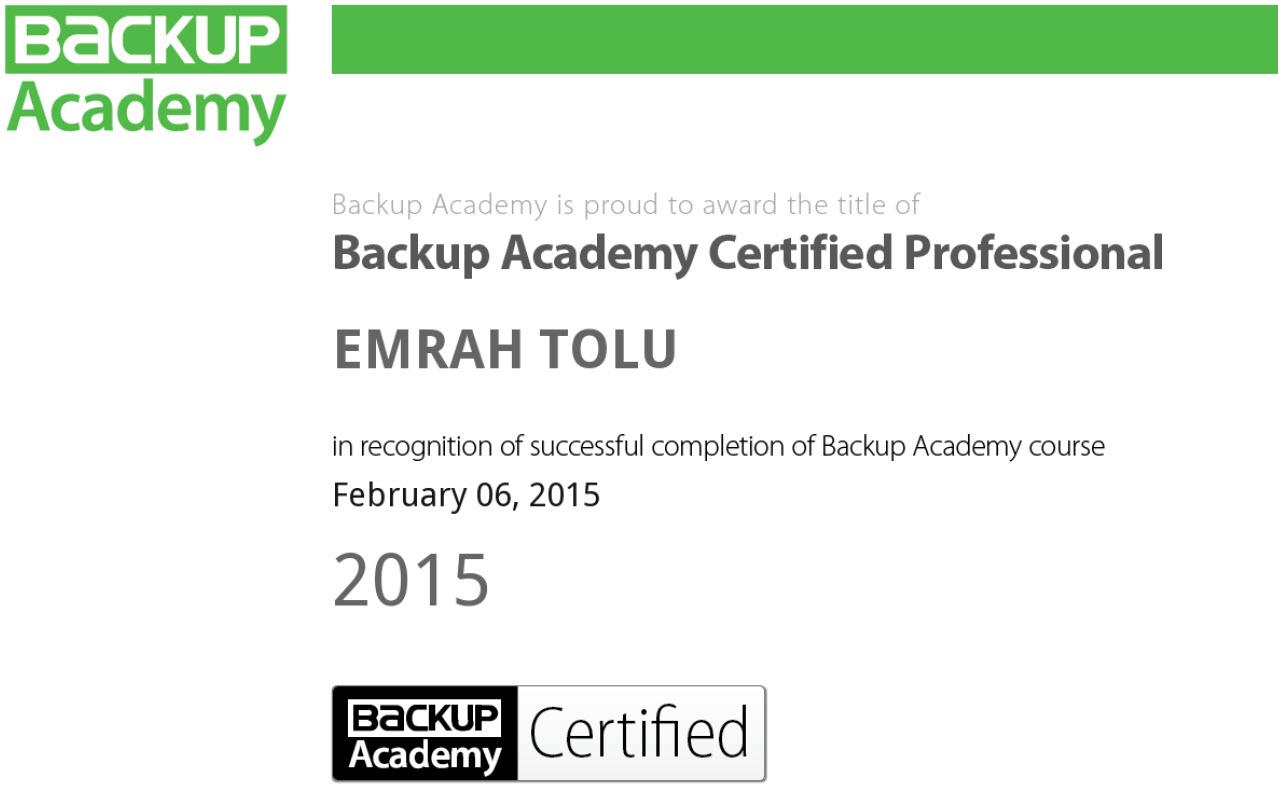 Backup Academy Veeam Backup  Sertifikam