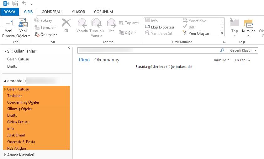 Outlook  ingilizce klasör isimlerini türkçe yapmak