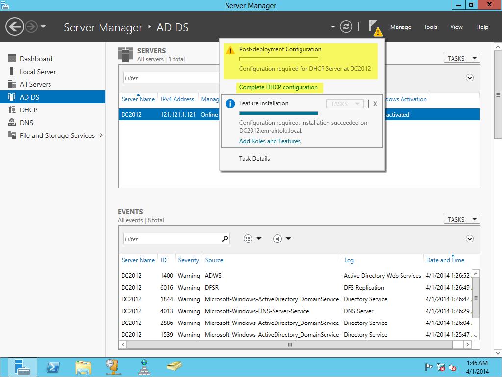Windows Server 2012 DHCP Kurulum ve Yapılandırma