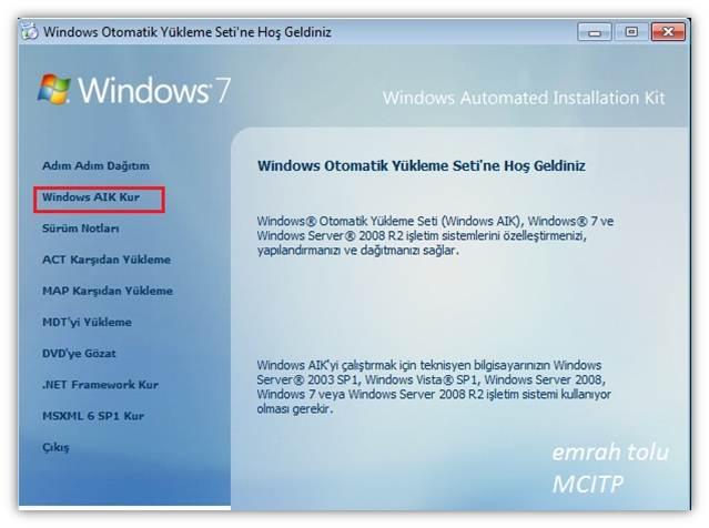 Windows 7 katılımsız kurulum