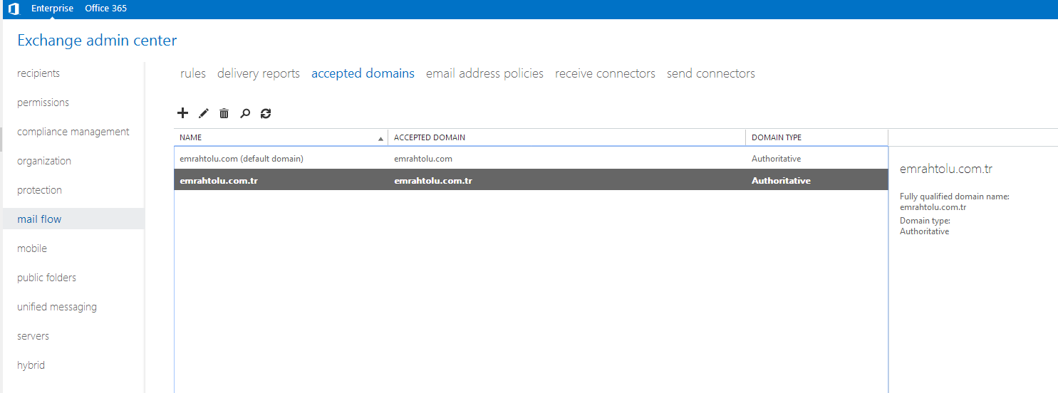 Exchange Server 2013 Accpted Domain ekleme
