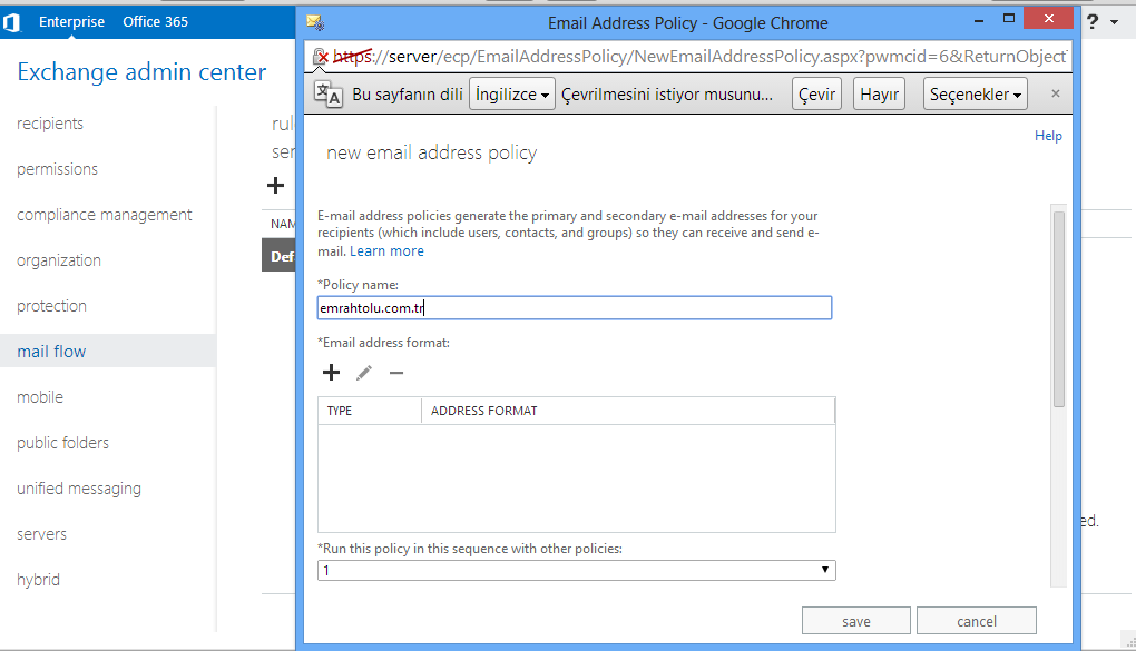 Exchange Server 2013 E-Mail AdressPolicies İşlemleri