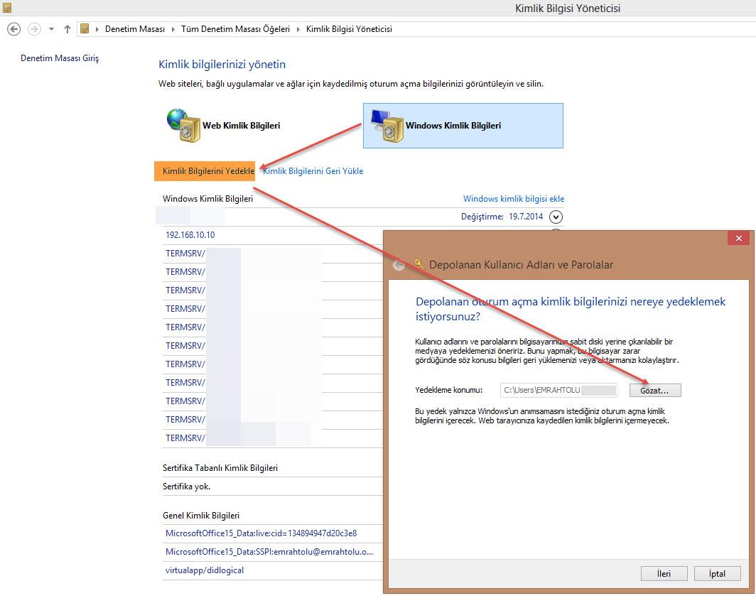 Windows Kimlik Bilgileri Yedekleme