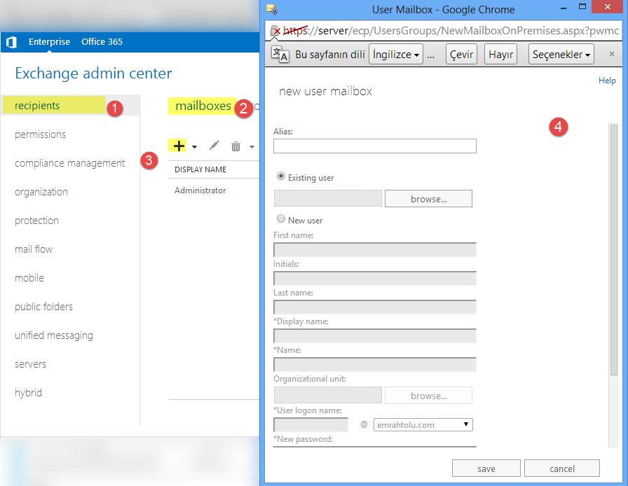 Exchange Server 2013 Kullanıcı Ekleme İşlemleri