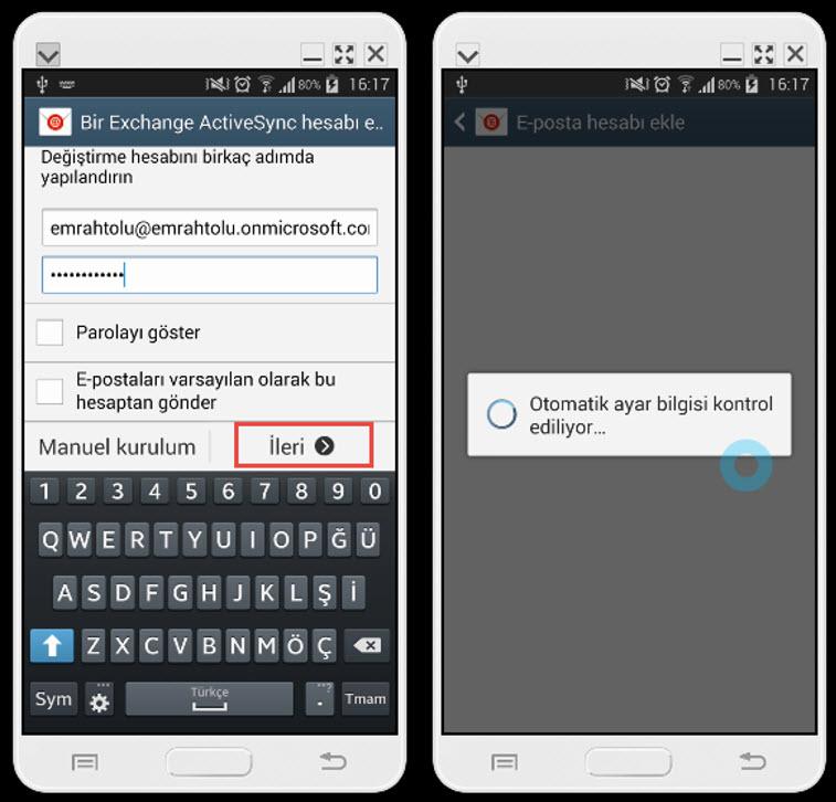 Office 365 Exchange Hesabının Android Üzerine Kurulması