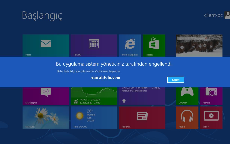 Windows 8 Applocker appx engelleme